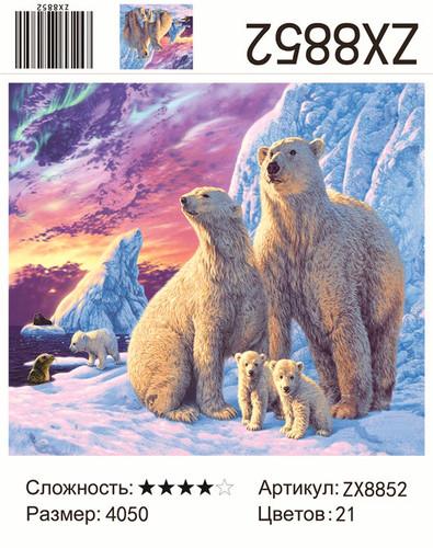 "АМ45 ZX8852 ""Семья белых медведей"", 40х50 см"