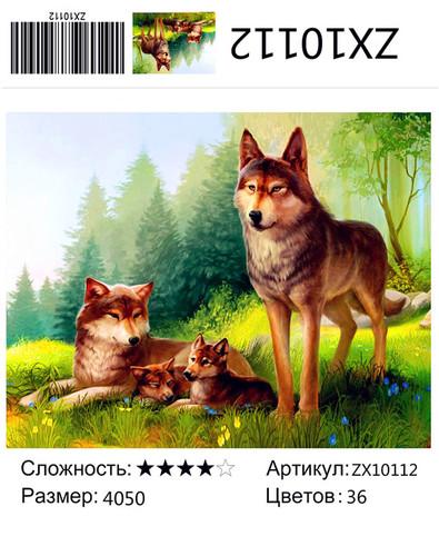 """АМ45 ZX10112 """"Волчья семья летом"""", 40х50 см"""