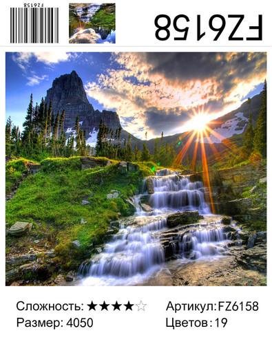 """АКВ45 FZ6158 """"Рассвет в горах, ручей"""", 40х50 см"""