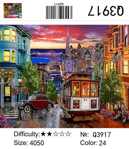"""РН Q3917 """"Трамвайчик в вечернем городе"""", 40х50 см"""