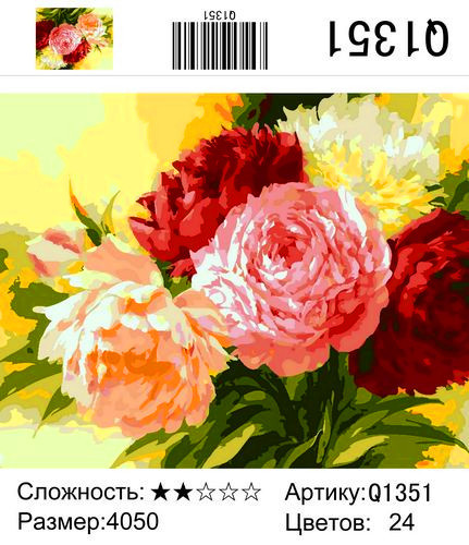 "РН Q1351 ""Пионы 429"", 40х50 см"