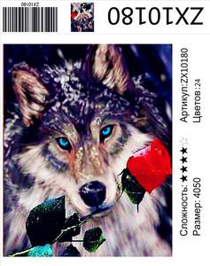 """АМ45 ZX10180 """"Волк с розой"""", 40х50 см"""