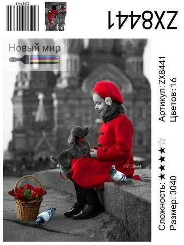 """АМ34 ZX8441 Девочка в красном и щенок"""""""", 30х40 см"""