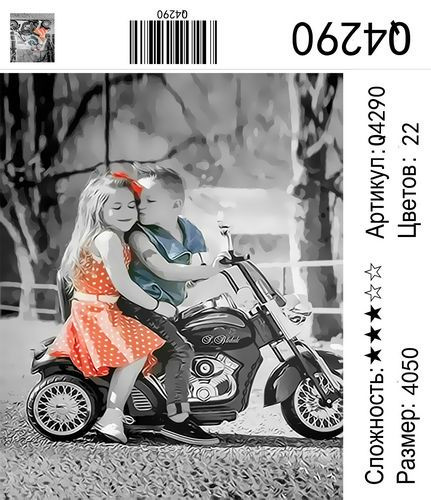 "РН Q4290 ""Детский поцелуй на мотоцикле"", 40х50 см"