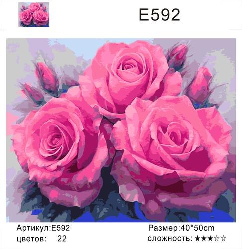 "РН Е592 ""Три розовых розы"", 40х50 см"
