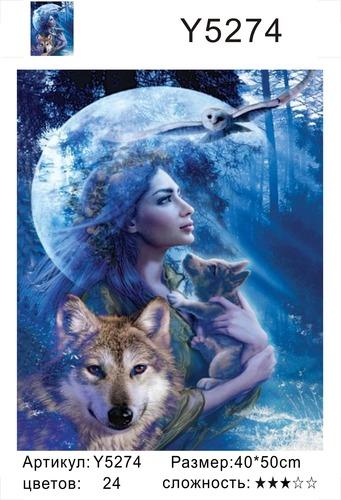 "РН Y5274 ""Девушка с волчонком на фоне луны"", 40х50 см"