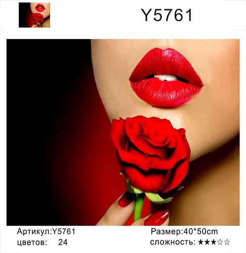 """РН Y5761 """"Красная роза, красные губы"""", 40х50 см"""