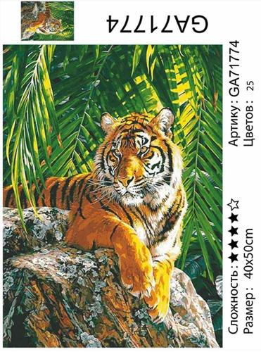 """АМ45 GA71774""""Тигр лежит на камне"""", 40х50 см"""