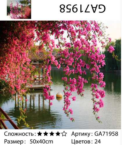 """АМ45 GA71958 """"Розовые цветы над беседкой в озере"""", 40х50 см"""