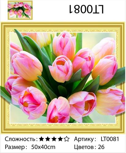 """АМ3D LT0081 """"Розовые тюльпаны"""", 40х50"""