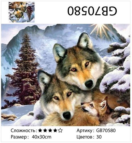 """АМ34 GB70580 """"Волчья семья зимой"""", 30х40 см"""