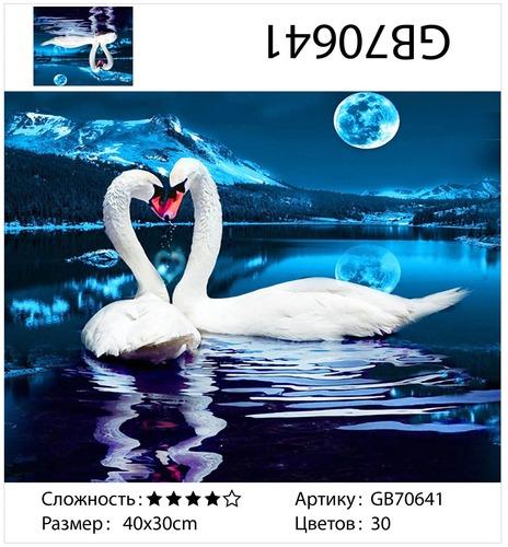 """АМ34 GB70641 """"Два лебедя лунной ночью"""", 30х40 см"""