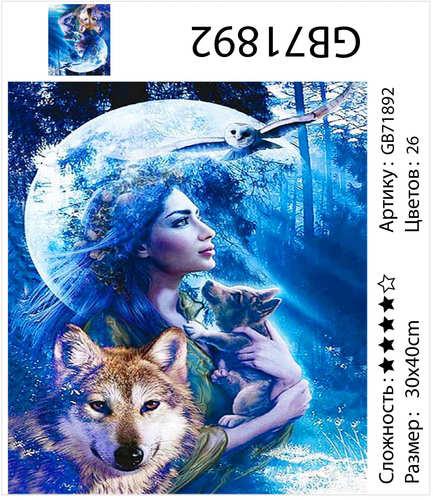 """АМ34 GB71892 """"Девушка с волчонком на фоне луны"""", 30х40 см"""