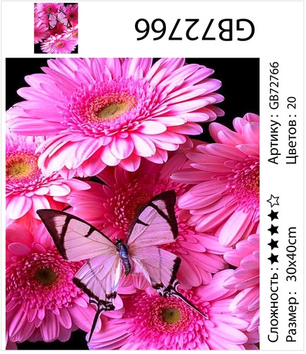 """АМ34 GB72766 """"Розовые герберы на черном фоне"""", 30х40 см"""