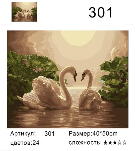"""РД 301 """"Два лебедя"""", 40х50 см"""