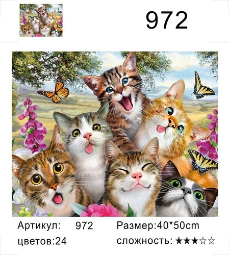 """РД 972 """"Веселые котята"""", 40х50 см"""
