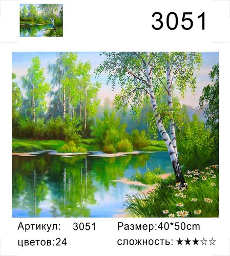 """РД 3051 """"Береза у озера"""", 40х50 см"""