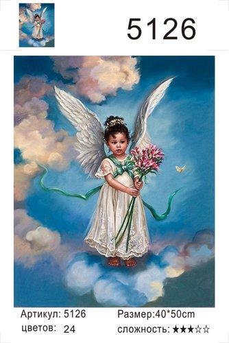 """РД 5126 """"Девочка-ангел с букетом цветов"""", 40х50 см"""