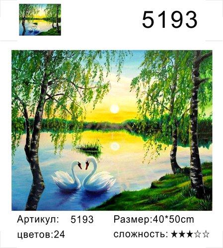 """РД 5193 """"Пара лебедей под березами"""", 40х50 см"""