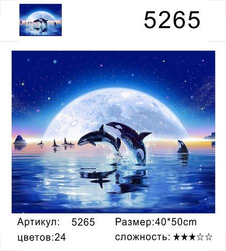 """РД 5265 """"Дельфины на фоне луны"""", 40х50 см"""