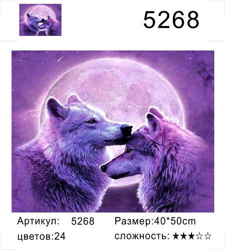 "РД 5268 ""Пара волков на фоне луны"", 40х50 см"