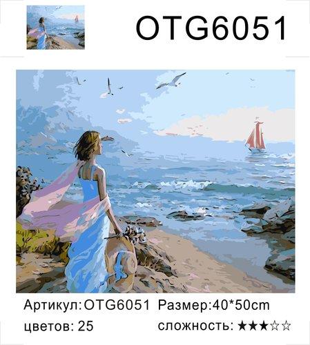 "РН OTG6051 ""Девушка смотрит на парусник"", 40х50 см"