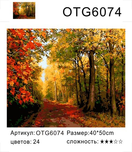 """РН OTG6074 """"Осенняя дорога"""", 40х50 см"""