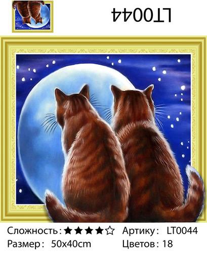 """АМ3D LT0044 """"Два кота смотрят на луну"""", 40х50"""