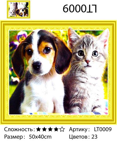 "АМ3D LT0009 ""Щенок и котенок"", 40х50"