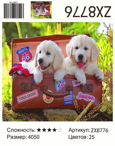 "АМ45 ZX8776 ""Два щенка в чемодане"", 40х50 см"
