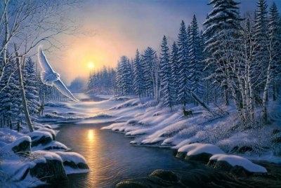 "ВК1821 ""Зимняя река на рассвете"" 39х48 см"