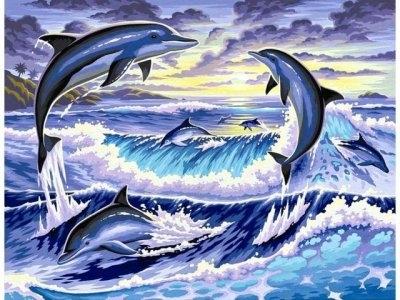 """ВК1917 """"Дельфины выпрыгивают из волны"""" 39х48 см"""