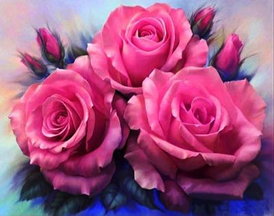 "ВК1931 ""Три розовых розы"" 39х48 см"