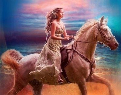 "ВК1948 ""Девушка на коне"" 39х48 см"