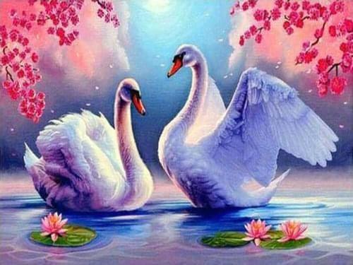 "ВК1974 ""Два лебедя и лотосы"" 39х48 см"