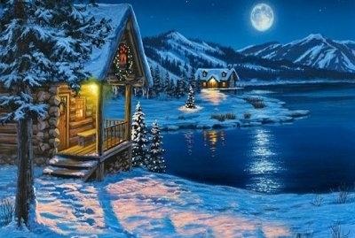 """ВК2265 """"Домик, озеро, луна"""" 39х48 см"""