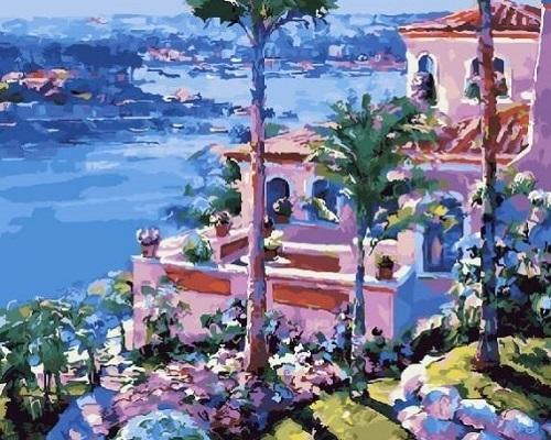 """РН GX27487 """"Розовые дома на фоне залива"""", 40х50 см"""