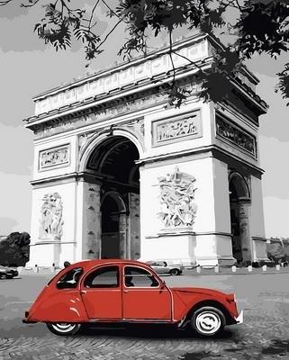 """РН GX30449 """"Красное авто на фоне арки"""", 40х50 см"""