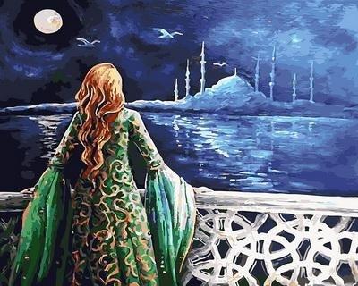 """РН GX30485 """"Девушка смотрит на ночное море"""", 40х50 см"""