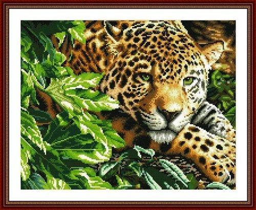 """АМ45 LAG006 """"Леопард в кустах"""", 40х50 см"""