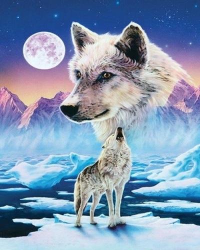 "АМ45 LAG1934 ""Волк на льдине"", 40х50 см"