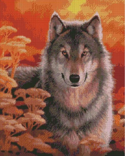 "АМ45 LAG2289 ""Волк осенью"", 40х50 см"