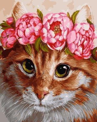 "РН GX29067 ""Кошка в розовом венке"", 40х50 см"