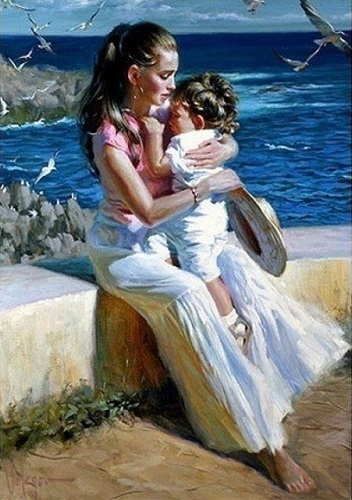 "РН GX27914 ""Мама с сыном на берегу"", 40х50 см"