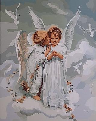 "РН GX6498 ""Мальчик-ангел целует девочку-ангела"""