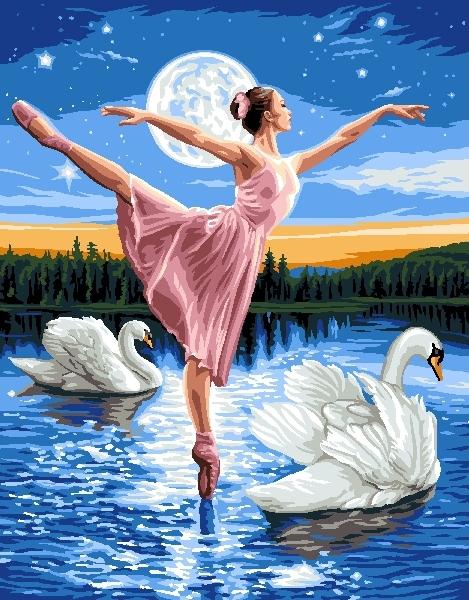 "РН GX6539 ""Балерина и два лебедя"", 40х50 см"
