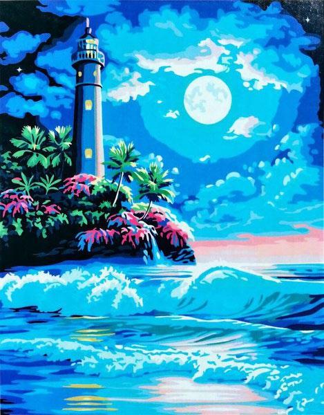 "РН GX6168 ""Маяк и пальмы в ночи"", 40х50 см"