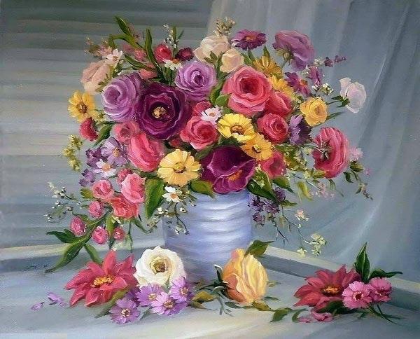 """РН GX7086 """"Красные розы и желтые ромашки в вазе"""", 40х50 см"""