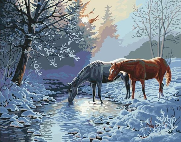 """РН GХ7013 """"Две лошади на зимнем ручье"""", 40х50 см"""