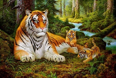 """РН GХ8479 """"Тигрица с тигрятами у ручья"""", 40х50 см"""